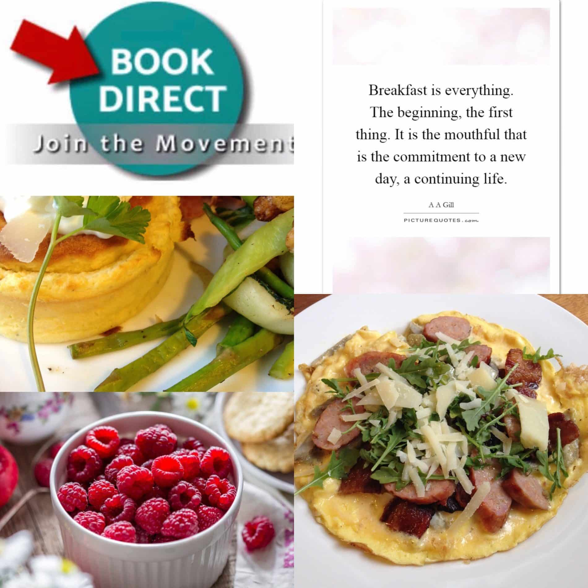 #BookDirect with food pictures