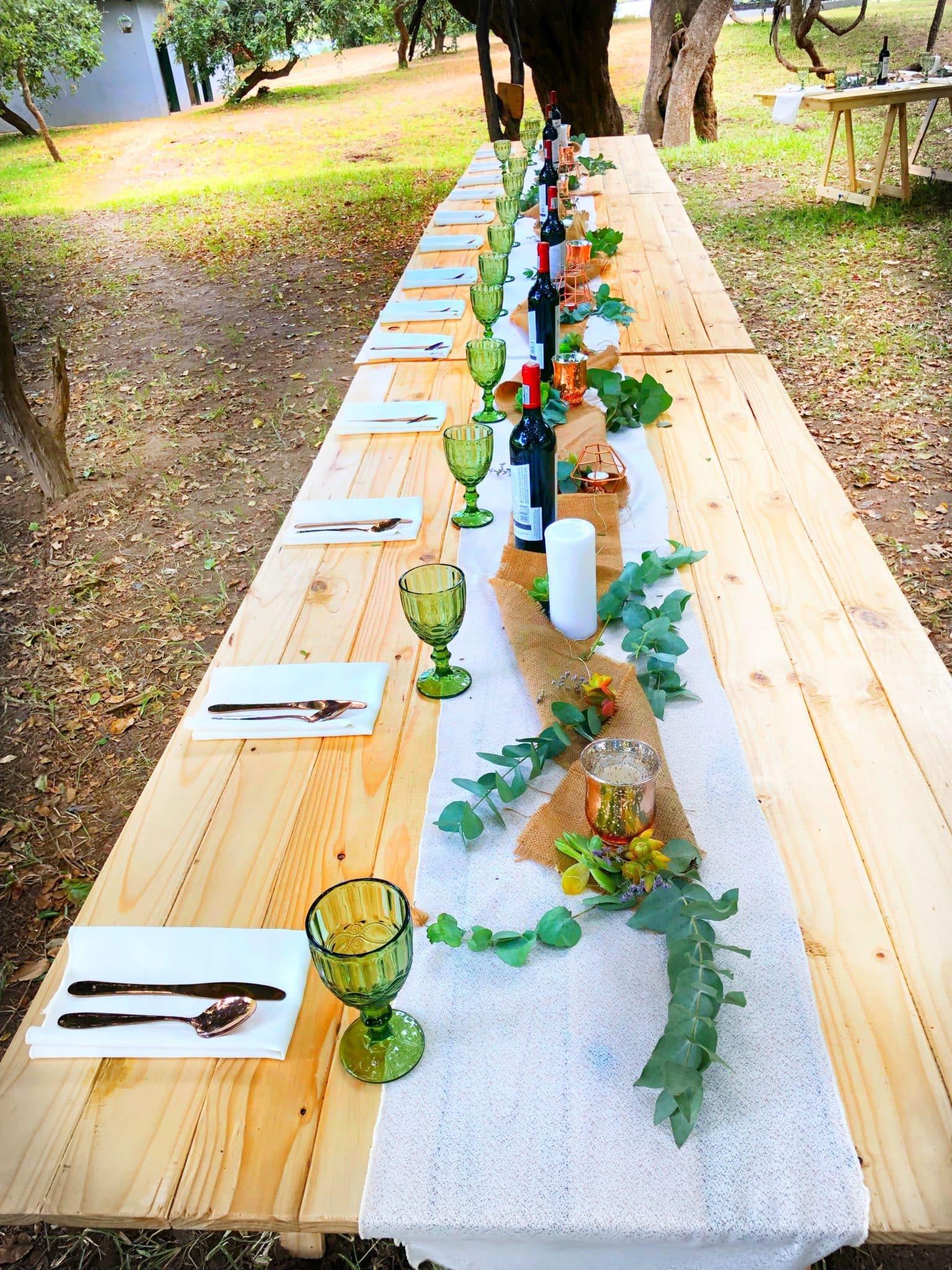 A bush Wedding table setting..