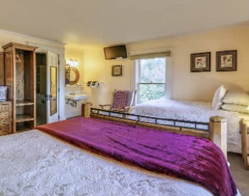 A guest room with two beds with white bedding, a flat screen TV and carpeted flooring